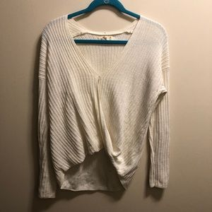 Hollister Cream Sweater w/ Overlapping Twist Front